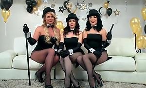 Three horny pornstars getting their leman holes hammered